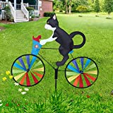 SLQX Cute cat and Dog Garden Wind Spinners Decoration, Bicycle Animals-Kids Windmill, Novel Yard pinwheels, Suitable for Lawn Decoration Garden Decoration Kids Gifts etc (Black cat)