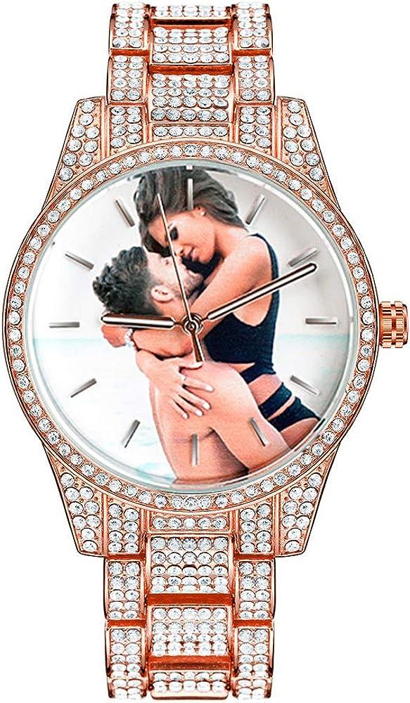 Reloj fotográfico personalizado Bling-ed Out Mens Hip Hop Quartz Relojes de pulsera casuales Reloj de diamantes personalizado Regalo personalizado para mujeres