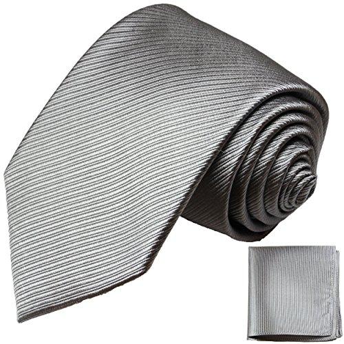 Silber graues Krawatten Set 2tlg 100% Seidenkrawatte mit Einstecktuch by Paul Malone