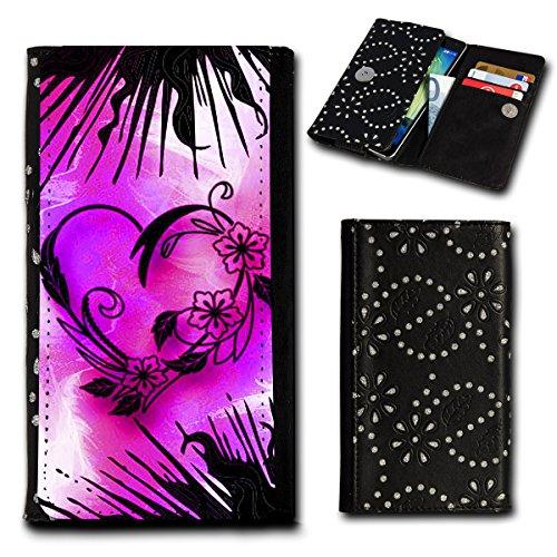 Strass Book Style Flip Handy Tasche Case Schutz Hülle Foto Schale Motiv Etui für Medion Life E5020 - Flip SU6 Design3