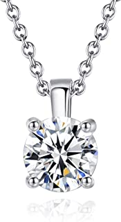 """Necklaces for Women & 18K White Gold Plated Swarovski 7MM Crystal Pendant 18"""" Necklace Jewelry 