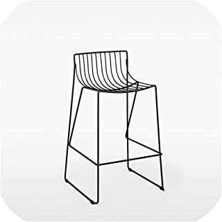 U-See Iron Bar Chair Bar Stool High Chair Minimalist Restaurant Bar Cafe Outdoor Bar Stool Can Be Stacked Industrial Wind,65 cm Sitting Height1