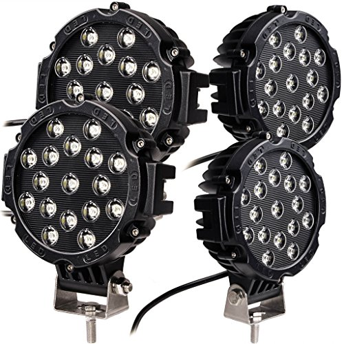 Oplips 4 x Black 51w Round Led Light 7' spot Work Off Road Fog Driving Roof Bar Bumper for SUV Boat 4x4 Jeep Lamp