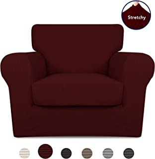 PureFit 2 Pieces Stretch Slipcover for 1 Cushion Couch – Spandex Jacquard Non-Slip Soft Fitted Sofa Couch Cover, Washable Furniture Protector with Non Skid Elastic Bottom for Kids (Chair, Wine)
