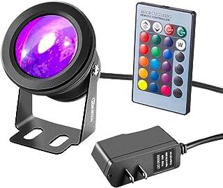 RUICAIKUN LED Flood Light 10W Waterproof Outdoor US Plug RGB Light with Remote Control (DC/AC 12V),Above Ground LED Spotli...