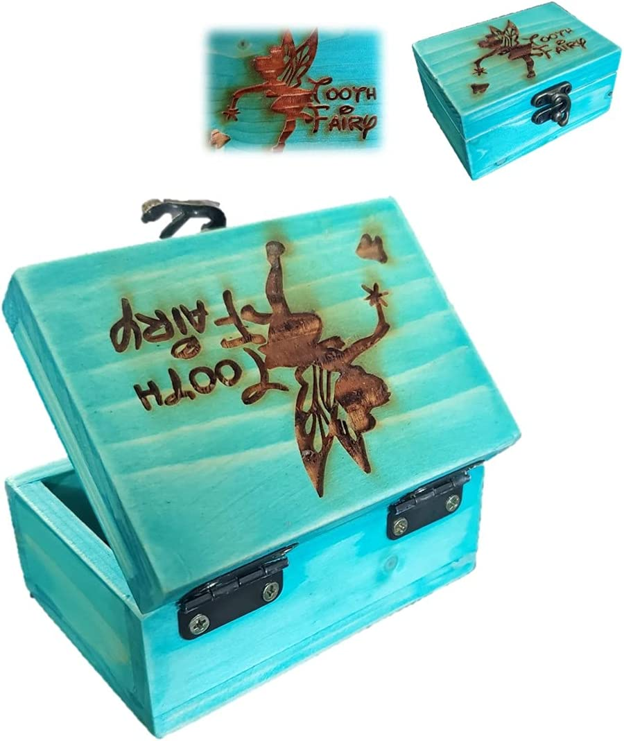 Distressed Wooden Jewelry Box. Tree of Life DecorativeBox, Jewelry Box for Keepsake, trinkets, Gift Idea for Birthday, Christmas, Weddings, or Any Occasion. (TOOTH FAIRY)