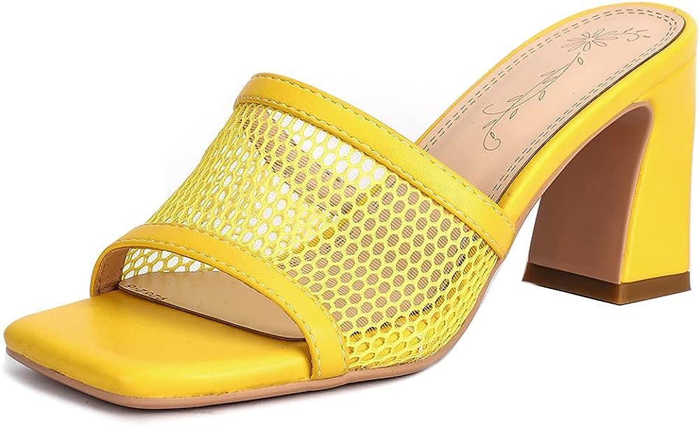 Ciuyurra Women Fashion Summer Mesh Mules Peep Toe Slip on