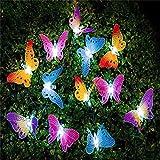 Wandskllss Luces de hadas de mariposa de jardín solar al aire libre con energía solar de la cadena de luces impermeables para patio, arbustos Gazebo decoración del árbol de Navidad 8 modos 12 luces