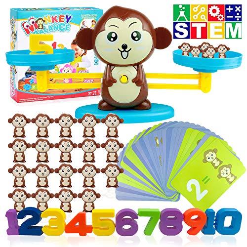 Montessori Mathe Waage Spielzeug, Affen Balance Spielzeug Tierwaagen Mathe Waage Spielzeug Digital Game Waage Spielzeu Zählen und Rechne Geschicklichkeit Spielzeug mit Subtraktion Math Scales Toys