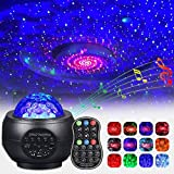 FancyWhoop Star Projector Night Light LED Starry Sky Projection Lamp Ocean Wave Projector with Remote Control 10 Colors Changing with Music Speaker Timer Suitable for Decoration Kids Party(Small)