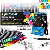 wilbest® Pennarelli Acquerello Professionali Pennello Penna Set-24 colori + Scratch Pad DIY + Penna...