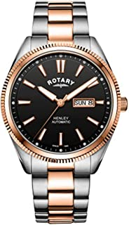 GB05382/04 Rotary Gents Two Tone Rose Serrated Bezel Henley Automatic Analogue Wrist Watch