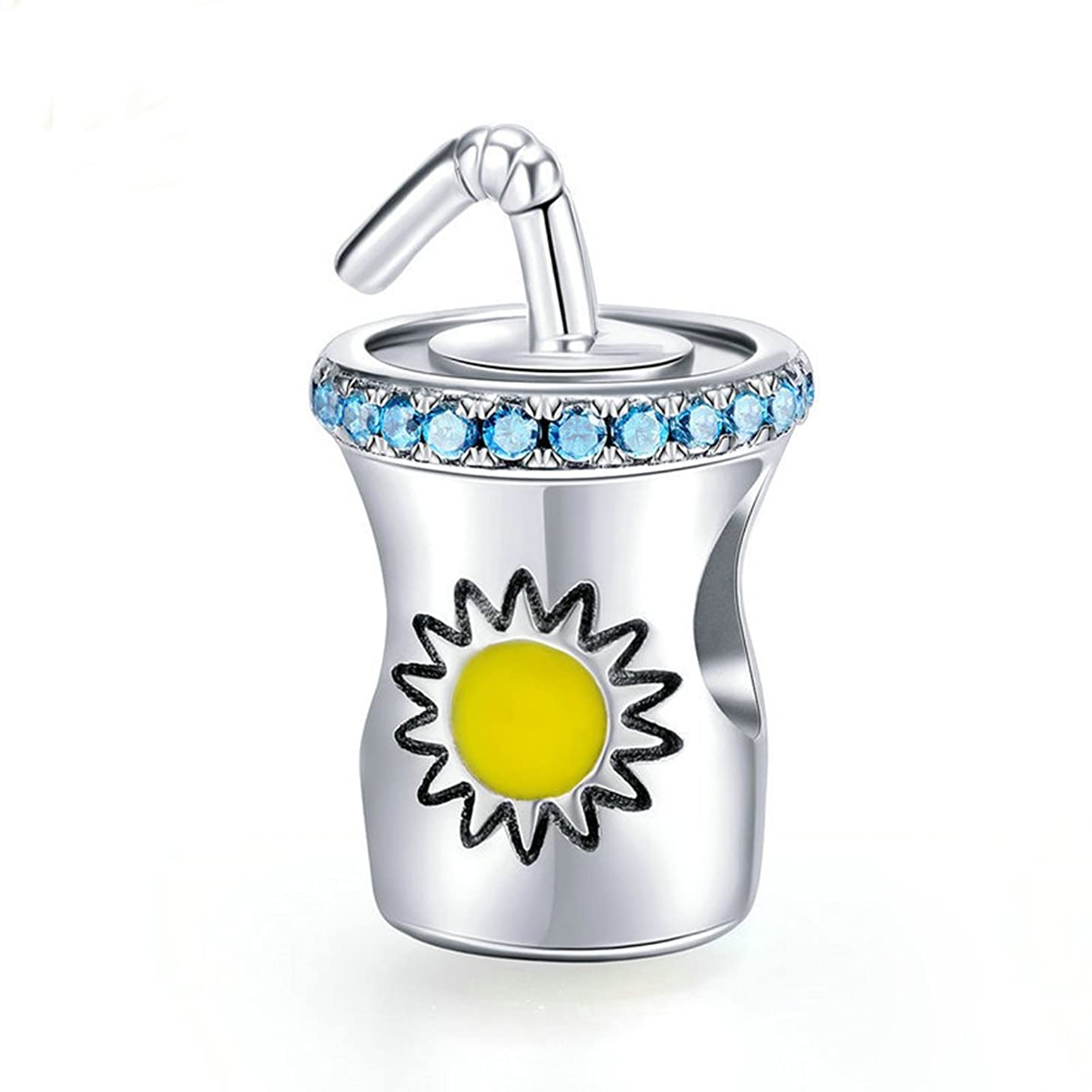 Beauty Summer Drinks Crystal Charm 925 Sterling Silver Sunshine Cup Bead Fit DIY Bracelet or Necklace