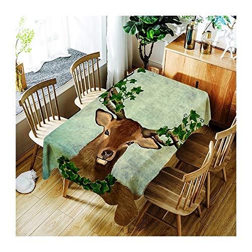 ZHAOXIANGXIANG Le Dîner Pique-Nique Imprimer Table Cloth Elk, Configuration des Lames Nappe Lavable Minimaliste Décoration Maison Tapis De Table ,130Cm×180Cm
