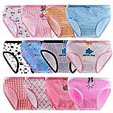 Anntry Enfants 10-12 Pack Slips Culottes Douces Confortables sous-vêtements Petites Filles Assorties Coton Culotte 2-10 Ans (Couleur-1, S(2-4) Ans)