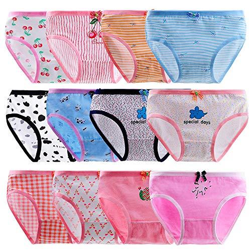 Anntry Bequeme Baumwollene Kinder-Unterhosen Unterwäsche für Kleine Mädschen Höschen 2-12 Jahre. (Eine Packung von 12 Stücke) (Farbe-1, 10-12 Jahre)
