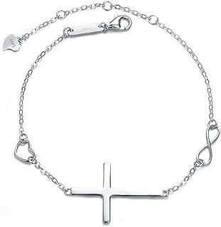 EVER FAITH Cross Bracelet 925 Silver Cross Infinity Charm Adjustable Link Religious Jewelry Gift for Women, Girls