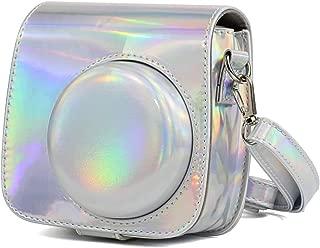 HUMEI Hu M Aurora Oil Paint Full Body Camera PU Leather Case Bag with Strap for FUJIFILM instax Mini 9 / Mini 8+ / Mini 8(Rose Gold) (Color : Silver)