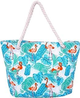 Strandtasche,Badetasche Große Feiertags Einkaufstasche Sommer Segeltuch Reise Umhängetasche mit Reißverschluss Einkaufstasche BJSTB0001-LB