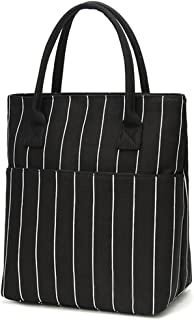 Heymoko Medium Insulated Lunch bag Stripe Durable Canvas Lunch Tote High Capacity Lunch Box (Black-Stripe)