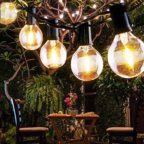 Etmury Lichterkette Außen,Lichterkette Glühbirnen Wasserdichte G40 9.5M 25 Birnen mit 3 Ersatzbirnen Lichterkette Glühbirnen Aussen Dekoration für Garten, Hochzeit Party,Weihnachten - Warmweiß (Weiß)