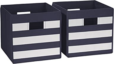 RiverRidge 02-151 2-Piece Folding Storage Bins, Navy/White