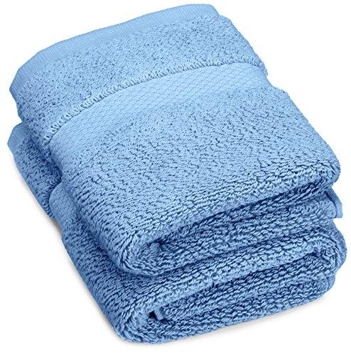Marca Amazon – Pinzon – Juego de 2 Toallas de Mano de algodón Pesado de Lujo, 30,5 x 30,5 cm, Color Azul Marino