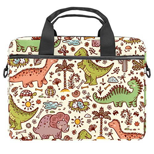 Funda multifuncional de lona para portátil de negocios, bolsa de mensajero, bolsa protectora de transporte para 13.4-14.5 pulgadas, estilo retro, dinosaurio, bosque animal
