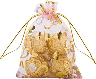 Outdoorfly 50PCS Organza Gift Bags Drawstring,4x6 Inches Jewelry Pouches Bags,Heart Printed Mesh Bags,Wedding Party Favor ...