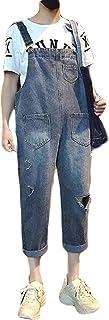 ZhongJue(ジュージェン)サロペットパンツ メンズ ゆったり ダメージ加工 オールインワン ファッション ヴィンテージデニムパンツ カップル ストリート系 オーバーオール 春 おしゃれ
