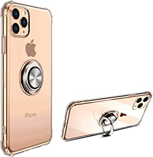 GEEAN Crystal Clear Case Shockproof Cover with Cell Phone Ring Stand for iPhone 11/11 Pro /11 Pro Max (iPhone 11 Pro)
