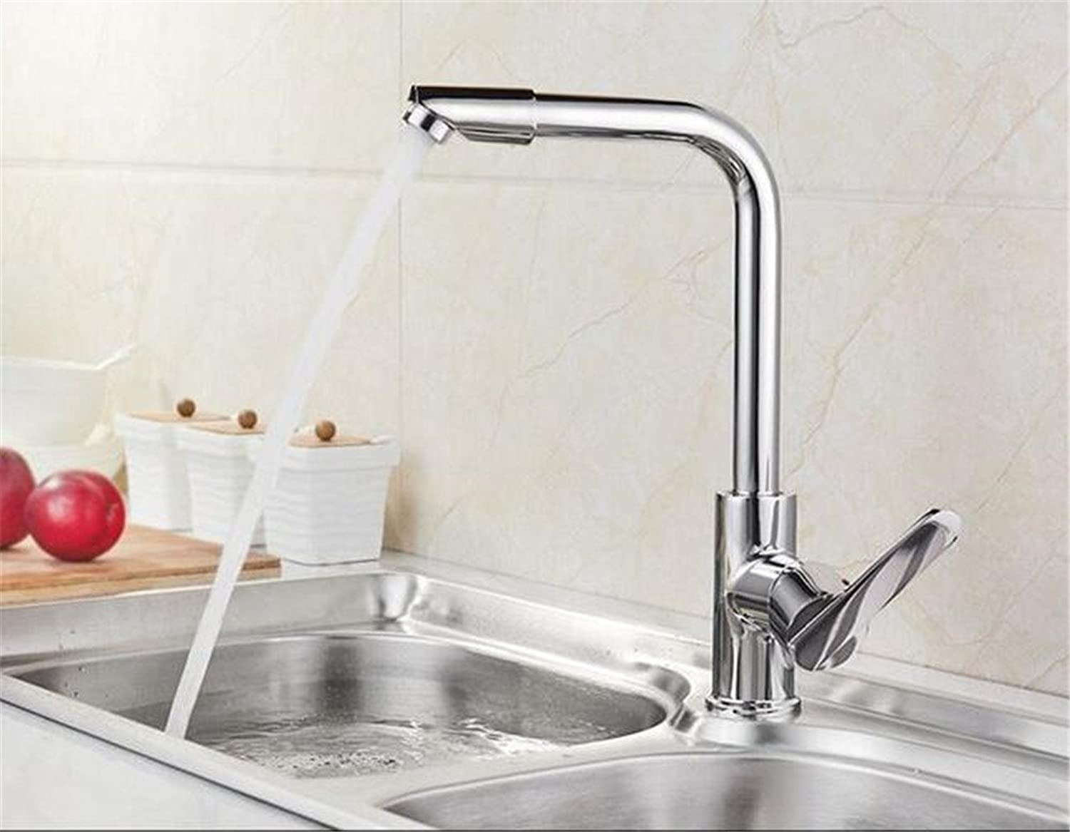 Decorry 304 Cold Kitchen Faucet Mixing Valve Member Hot and Cold Water All Copper Kitchen Sink Faucet Ceramic Valve Core, Cold Movable Head Section 3