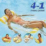 Cama flotante, Hamaca de agua, hinchable, tumbona de salón cómoda portátil, flotador para piscina, playa, para adultos y niños (amarilla)
