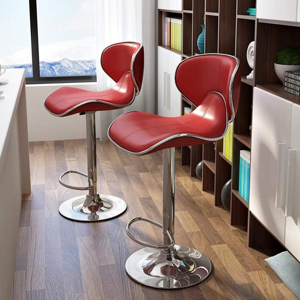 KAI LE Tabouret tournant, Hauteur réglable Maison Minimaliste Moderne en Fer forgé Chaise Tabouret Haut avec Coussin en Cuir de Dossier (Couleur : Pearlescent Gold) Red