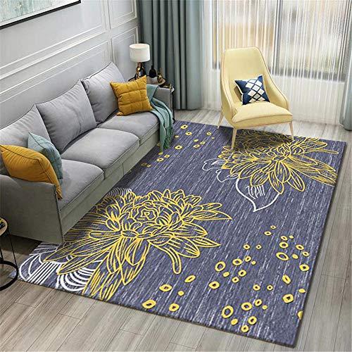 WBDYMX tapijten woonkamer modern wasbaar met gele printpatroon naast hoogwaardig onderhoudsvriendelijk open haard tapijt