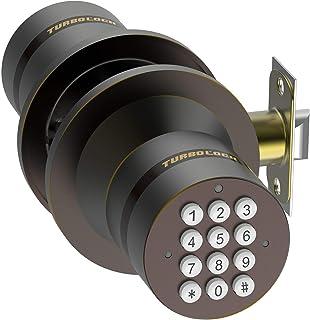 TurboLock Keyless Electronic Keypad Entry Door Lock Smart Knob Kit with Automatic Locking, Battery Backup & Easy Installation (No Bluetooth, Bronze)