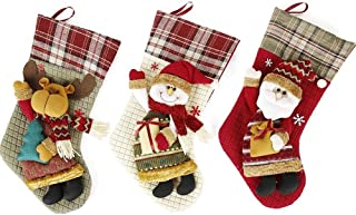Gift Christmas Stocking Decoration Christmas Candy Gift Bags Decorative Props Tuba Santa Snowman Sock,Durability (Color : Three-Piece, Size : 45 * 22cm)