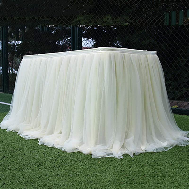 Overstep Romantic Tulle Party Table Dress Decoration Wedding With Tulle Tablecloth Mesh Fluffy Table Skirt Birthday Party Home Decoration