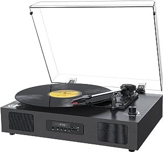 レコードプレーヤー Bluetooth USB録音 スピーカー内蔵 33/45/78回転対応 RCA出力端子 ターンテーブルマット 替え針付属 黒