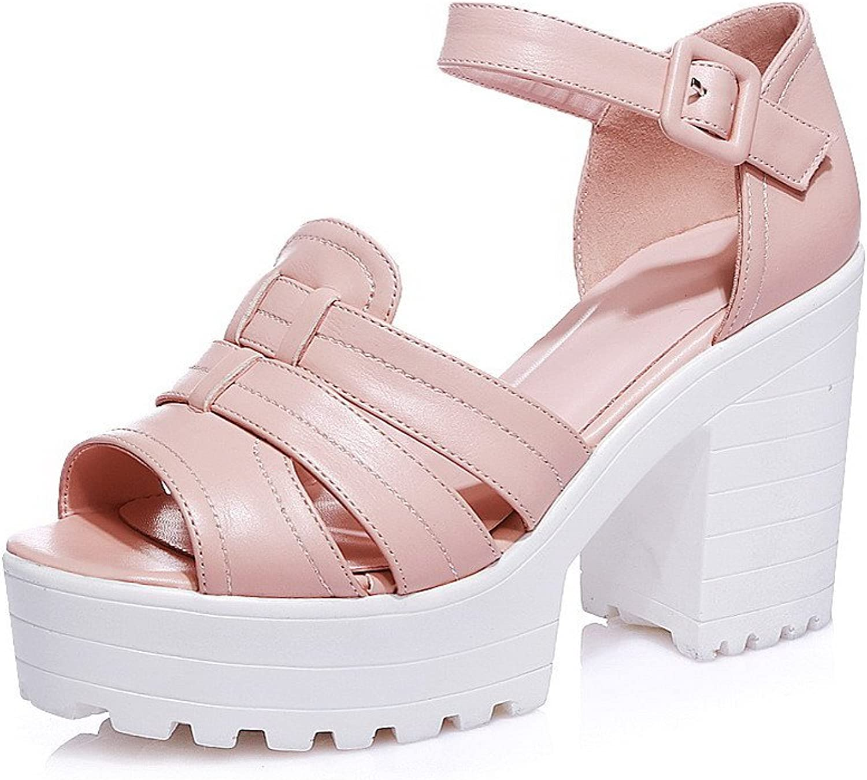 AmoonyFashion Women's Buckle Peep Toe High-Heels PU Solid Sandals