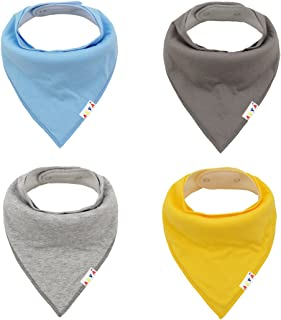 ALVABABY Solid Baby Bandana Bibs for Boys and Girls 4 Pack of Super Absorbent Baby Gift Sets KSW03