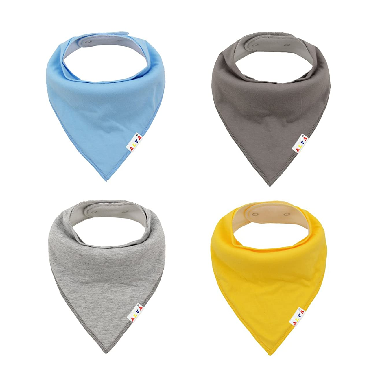 ALVABABY Solid Baby Bandana Bibs for Boys & Girls 4 Pack of Super Absorbent Baby Gift Sets KSW03