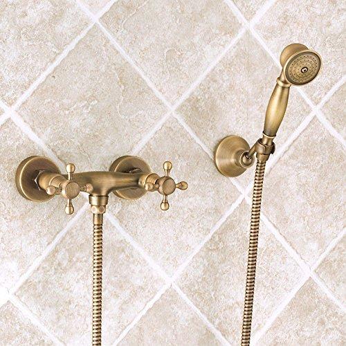 MGADERO Rubinetto per Lavabo Bagno Miscelatore per Lavabo Classic in ottone antico insieme di acqua calda e fredda nella parete vasca da bagno