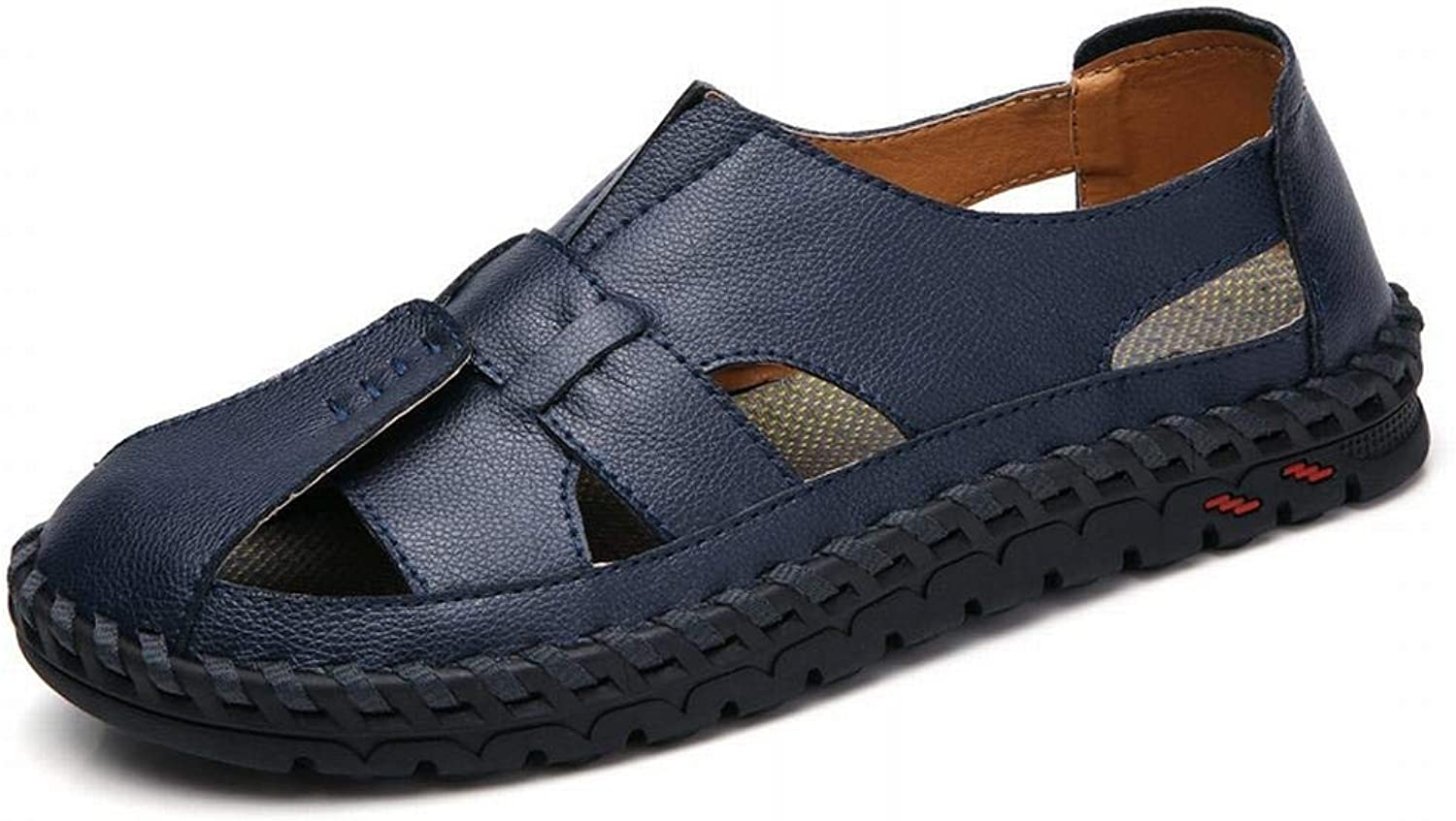 Men's shoes Outdoor Non-Slip Leather Men's Sandals Beach shoes (color   Dark bluee, Size   40)