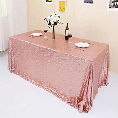 "GFCC Seamless Rose Gold Sequin Tablecloth 60""x120"""