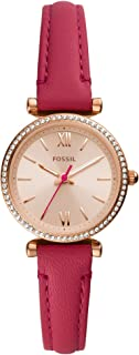Fossil Damen. Analog Quarz Uhr mit Leder Armband ES5006