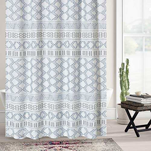 DOSLY IDÉES Boho Fabric Shower Curtain Set with Hooks for Bathroom, Blue and Gray, Decorative Woven Texture Waterproof Clipped Jacquard,Farmhouse,Shabby Chic and Modern Style Cloth Panel, 72 x 72 in