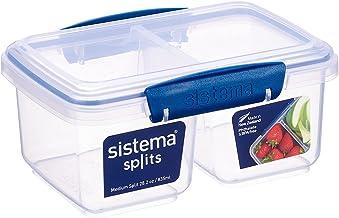 Sistema Medium Split Food Container, 835 ml - Dark Blue and Clear