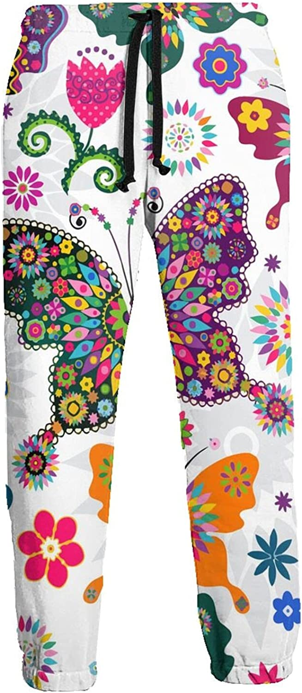 Men's Jogger Sweatpants Colorful Butterflies 3D Loose Joggers Pants with Drawstring Long Pants