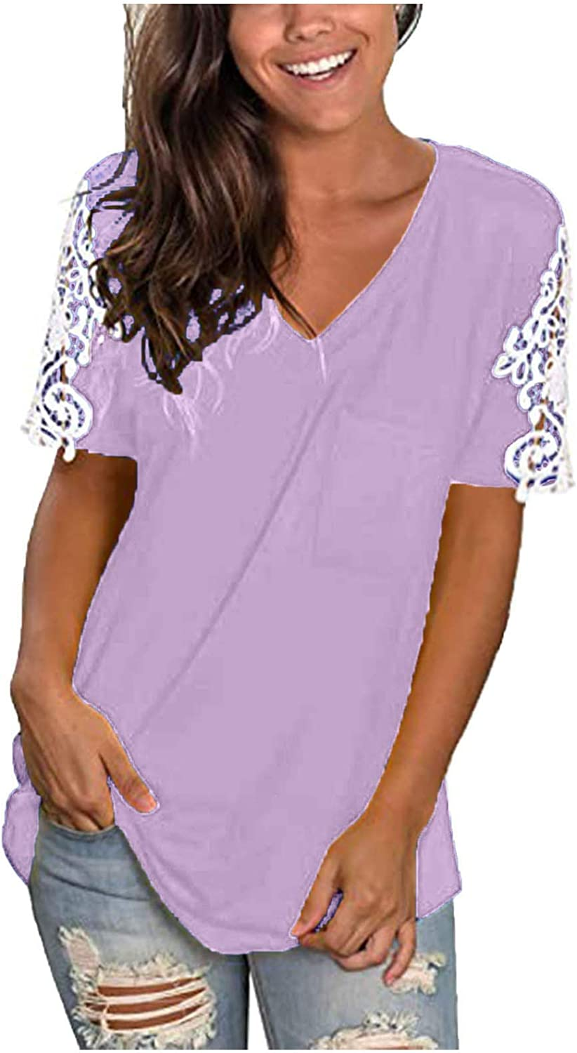 Lace Splicing Tshirt for Women V Neck T Shirt Short Sleeve Tshirt Solid Color Blouse with Pocket